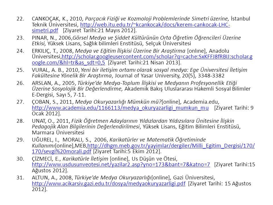 CANKOÇAK, K., 2010, Parçacık Fiziği ve Kozmoloji Problemlerinde Simetri üzerine, İstanbul Teknik Üniversitesi, http://web.itu.edu.tr/~kcankocak/docs/kerem-cankocak-LHC-simetri.pdf [Ziyaret Tarihi:21 Mayıs 2012].